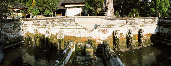 Bathhouse with the statues of goddesses in Goa Gajah