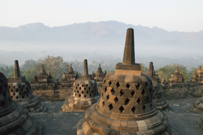 Mountain of lieing buddha near Borobudur